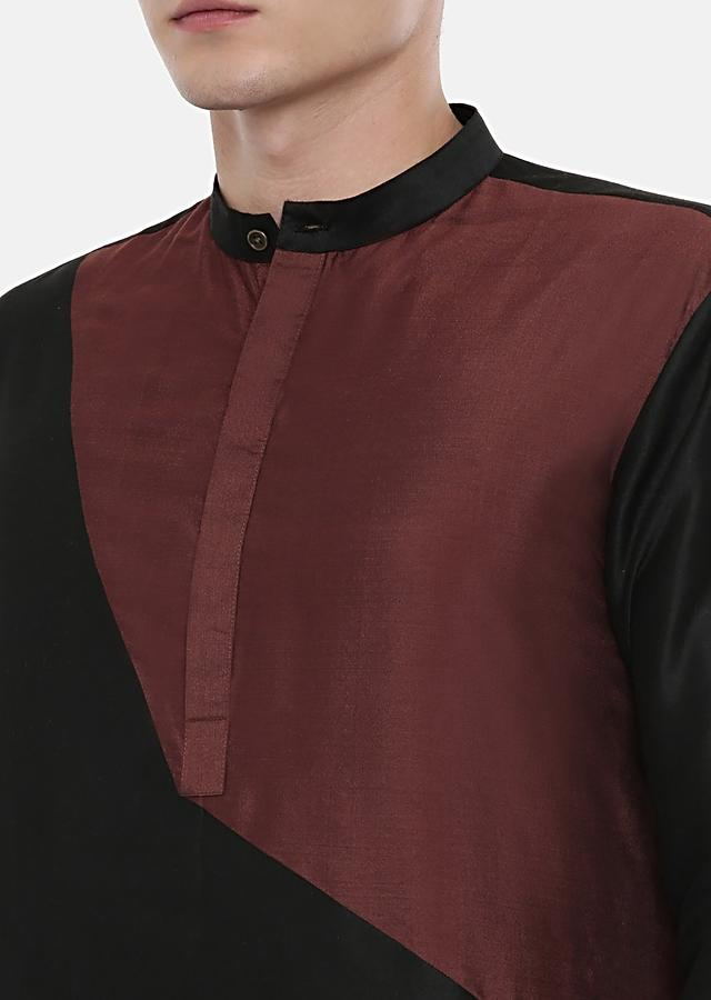 Black, Maroon And Brown Colorblocked Kurta Set In Cotton Silk By Mayank Modi