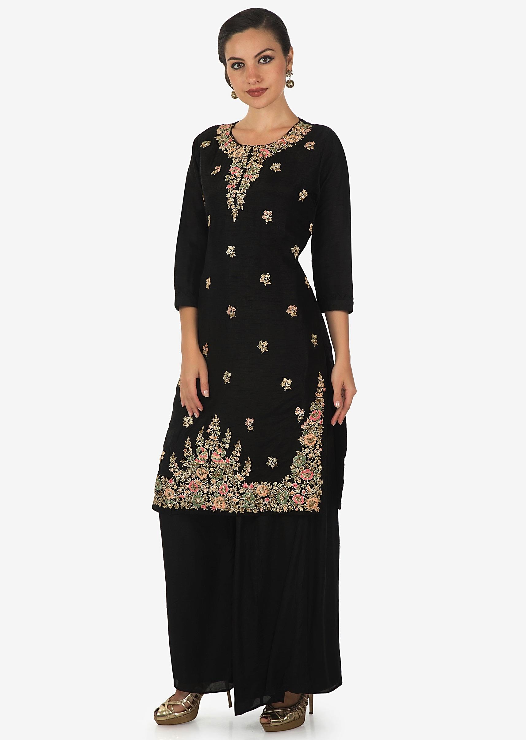 9288c1e9cc Black straight palazzo suit with embroidered neckline and hem only on Kalki
