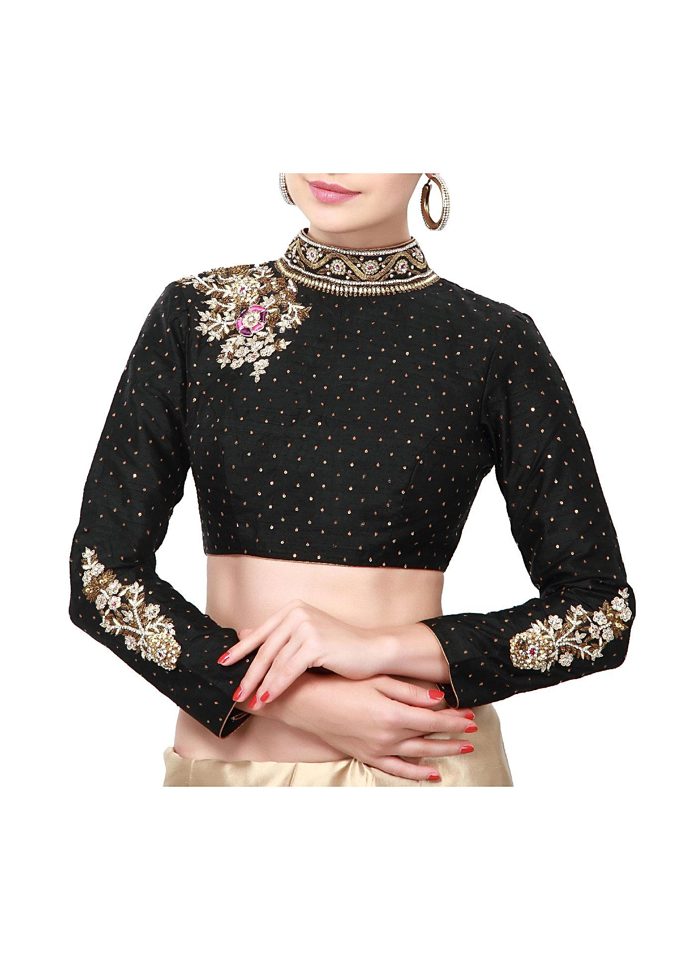 a7a2d8daec2be Black blouse adorn in kundan embroidered butti only on Kalki