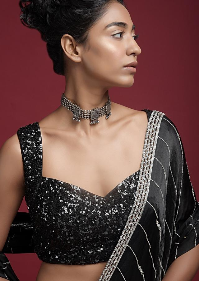 Black Blouse With Sweet Heart Neck And Sequins And Moti Work Online - Kalki Fashion