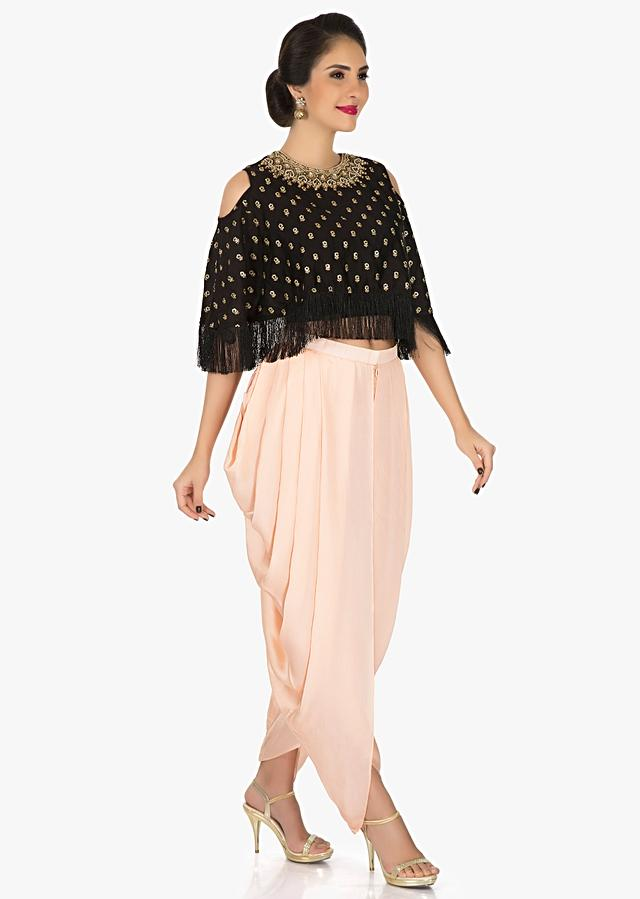 Black Cape And Peach Dhoti Suit With Moti Sequin Work Online - Kalki Fashion