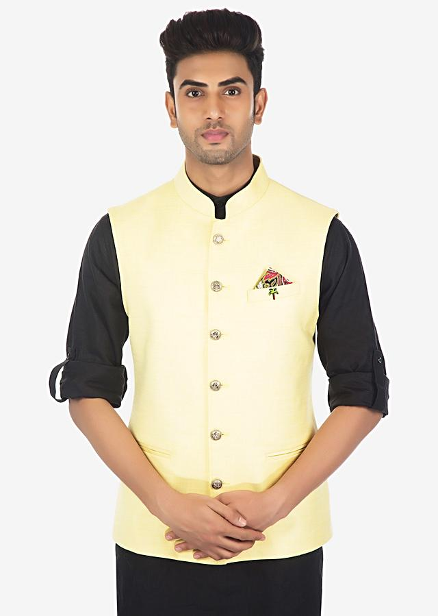 Pale Yellow Nehru Jacket In Fancy Fabric Online - Kalki Fashion