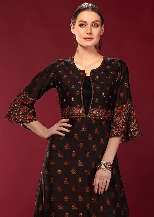 Black Long Tunic In Silk With Digital Printed Buttis And Flared Sleeves Online - Kalki Fashion