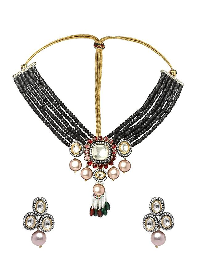 Black Necklace Set With Agate Bead Strings And Polki Pendant With Shell Pearls And Red Hydro Online - Joules By Radhika