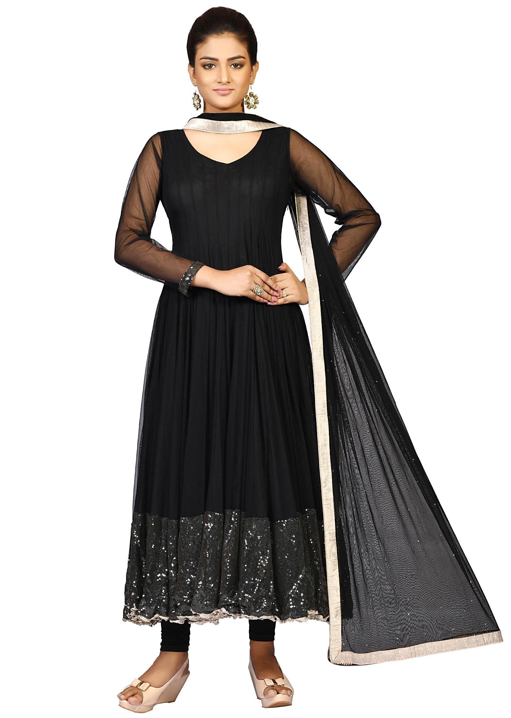 a29d55533 Black net suit with net dupatta enhanced in sequin embroidery only on  KalkiMore Detail