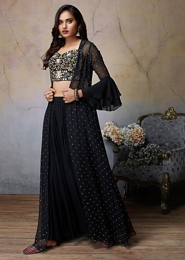 Black Palazzo Suit With Matching Jacket And Embroidered Floral Jaal Online - Kalki Fashion