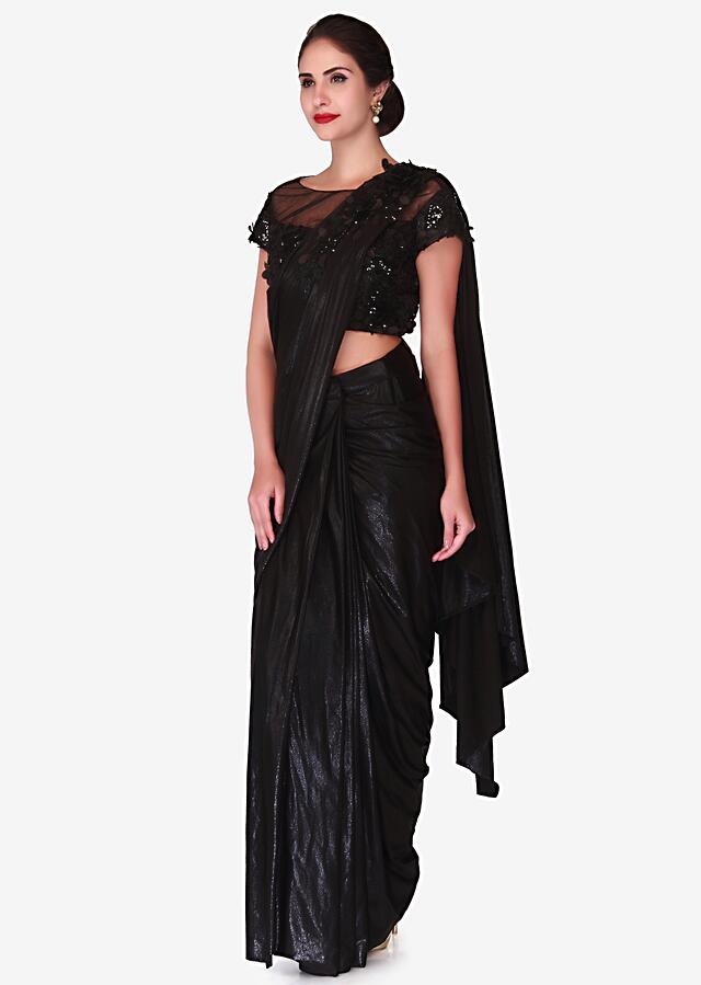 Black Ready Pleated Saree With 3D Flower Embroidery Online - Kalki Fashion