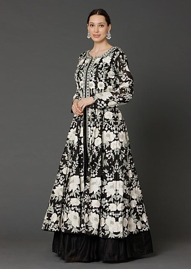 Black Sleeveless Anarkali Suit With Kashmiri Resham Embroidered Long Jacket Online - Kalki Fashion