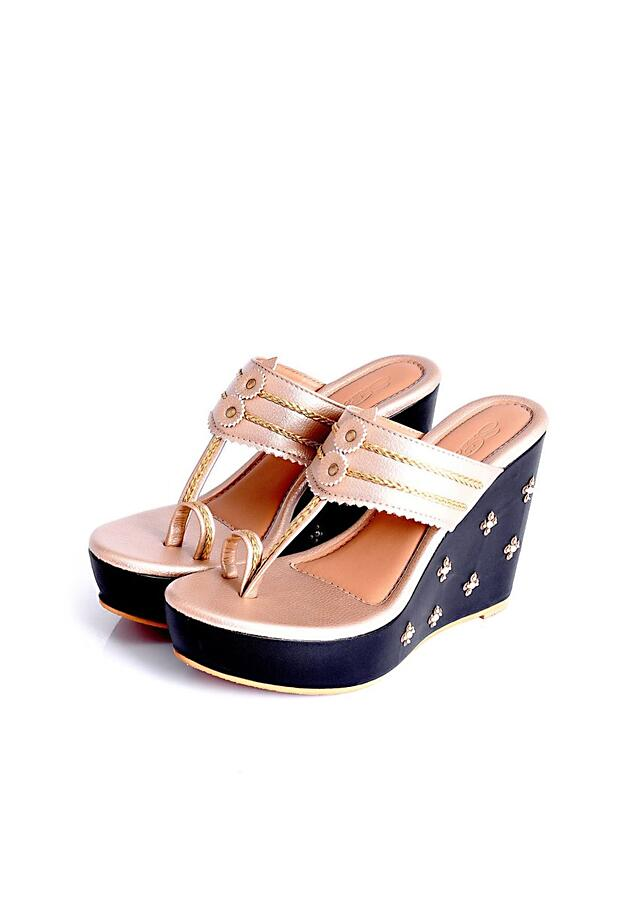 Black And Gold Kolhapuri Wedges With Tikki And Beads Work By Sole House