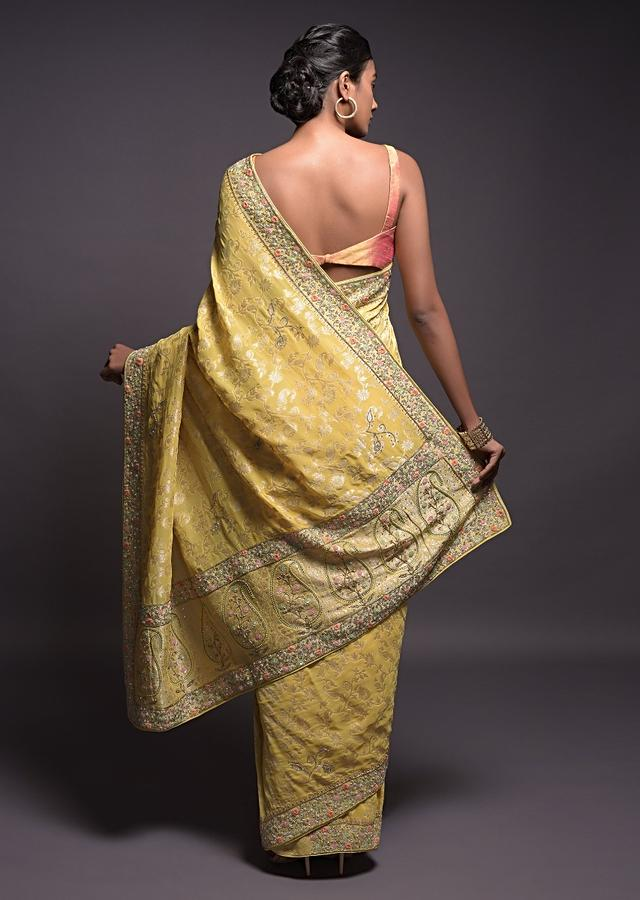 Blonde Yellow Banarasi Saree In Georgette With Weaved Floral Jaal And Embroidered Border Online - Kalki Fashion