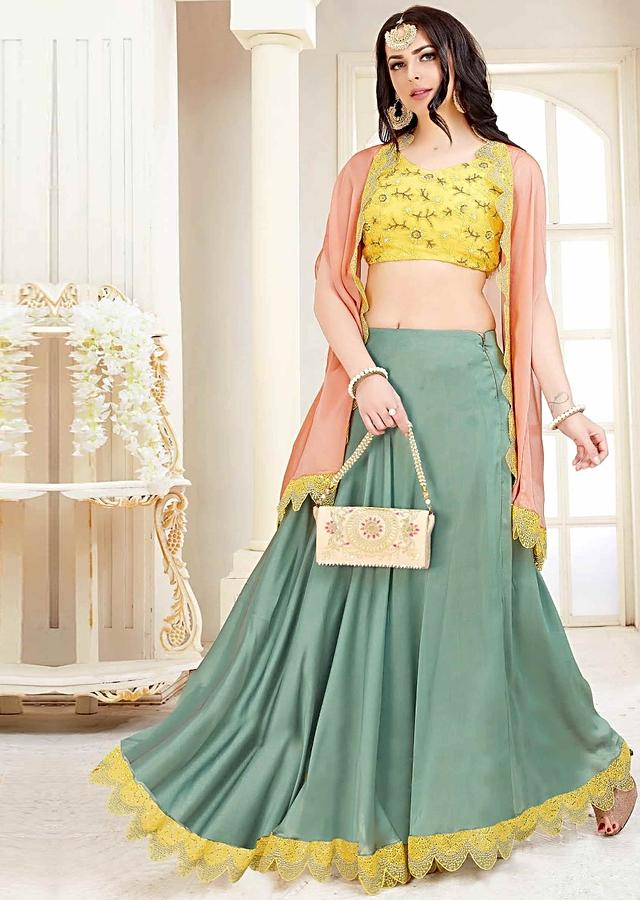 Blonde Yellow Crop Top In Chiffon With Crepe Peach Cape Jacket And Sage Green Skirt Online - Kalki Fashion