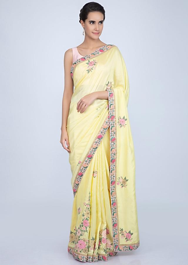 Blonde yellow dupion silk saree with floral embroidered butti and border only on Kalki