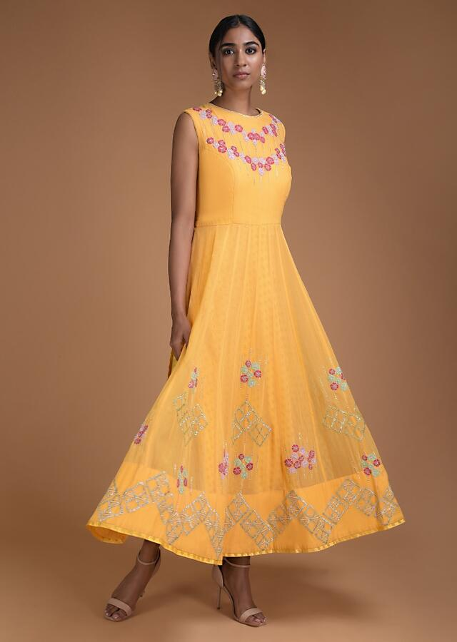 Blonde Yellow Indowestern Gown With Floral Embroidery And Brocade Under layer Online - Kalki Fashion