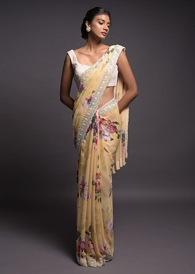 Blonde Yellow Saree In Georgette With Floral Print And Pearl Embellished Border Online - Kalki Fashion