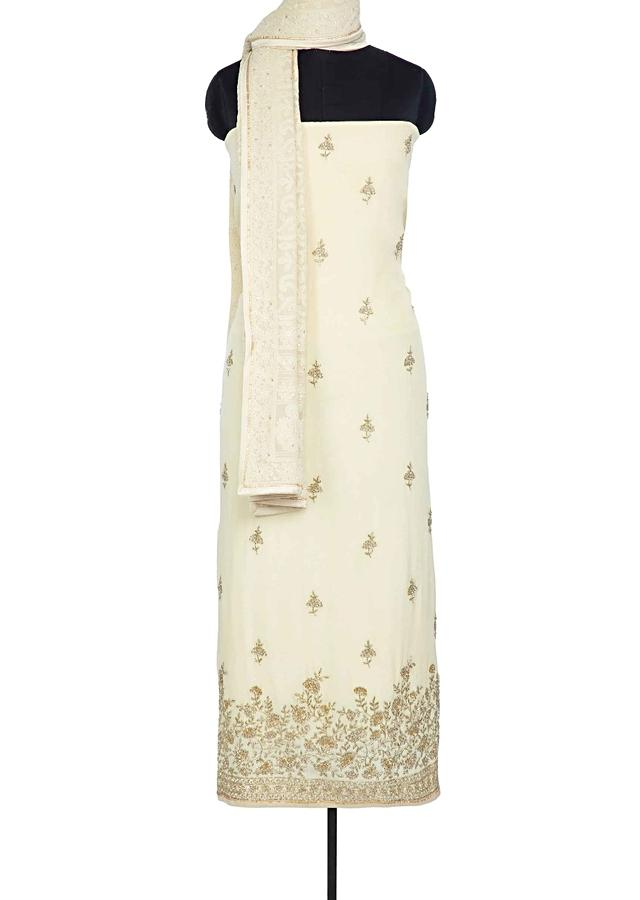 Blonde Yellow Unstitched Suit In Santoon With Embroidery And Butti Online - Kalki Fashion