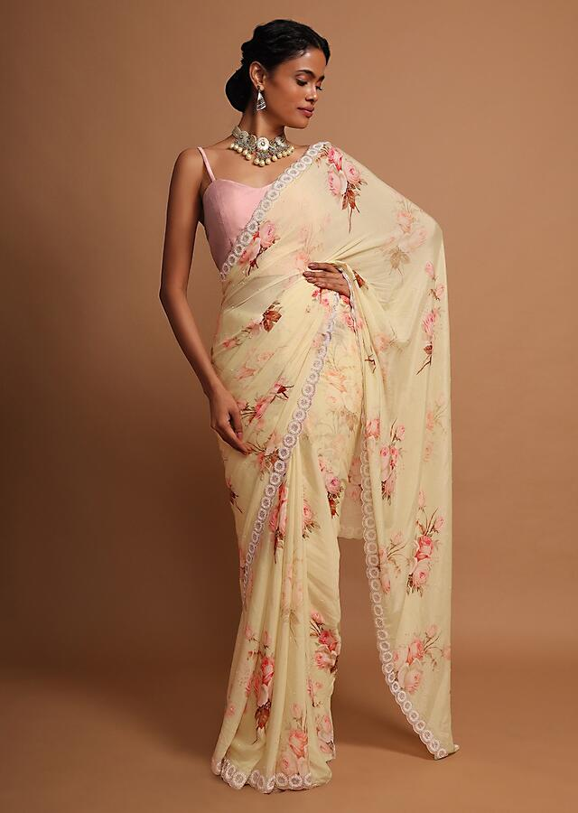 Blonde yellow floral digital printed chiffon saree with heavy embroidered border Online - Kalki Fashion