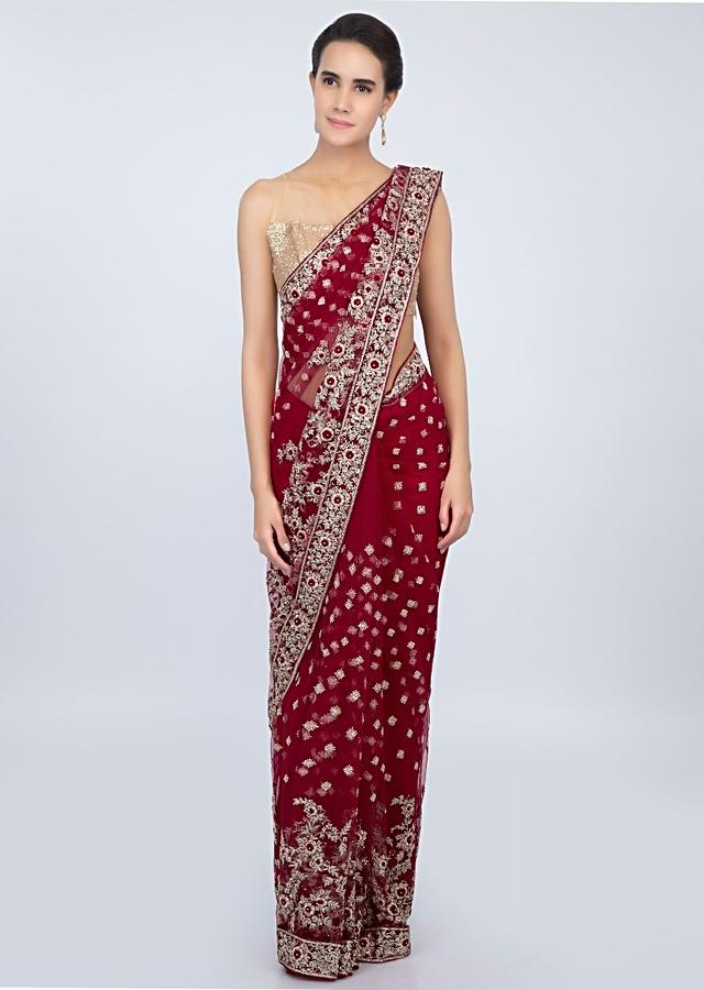 Blood Red Saree In Hard Net With Embroidered Butti And Border Online - Kalki Fashion