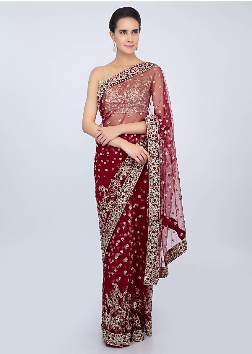 3e79955a44c127 Blood red hard net saree with embroidered butti and border only on kalki