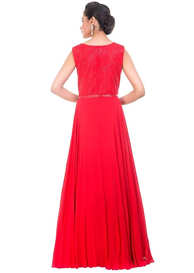 Blood Red Gown Embellished With Pearl Online - Kalki Fashion