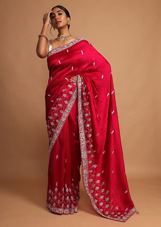 Blood Red Saree In Dupion Silk With Zari Embroidered Buttis And Scallop Design Online - Kalki Fashion