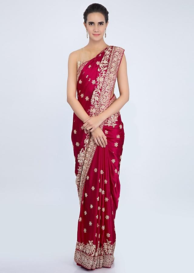 Blood Red Satin Saree With Zardosi And Zari Embroidered Butti And Border Online - Kalki Fashion