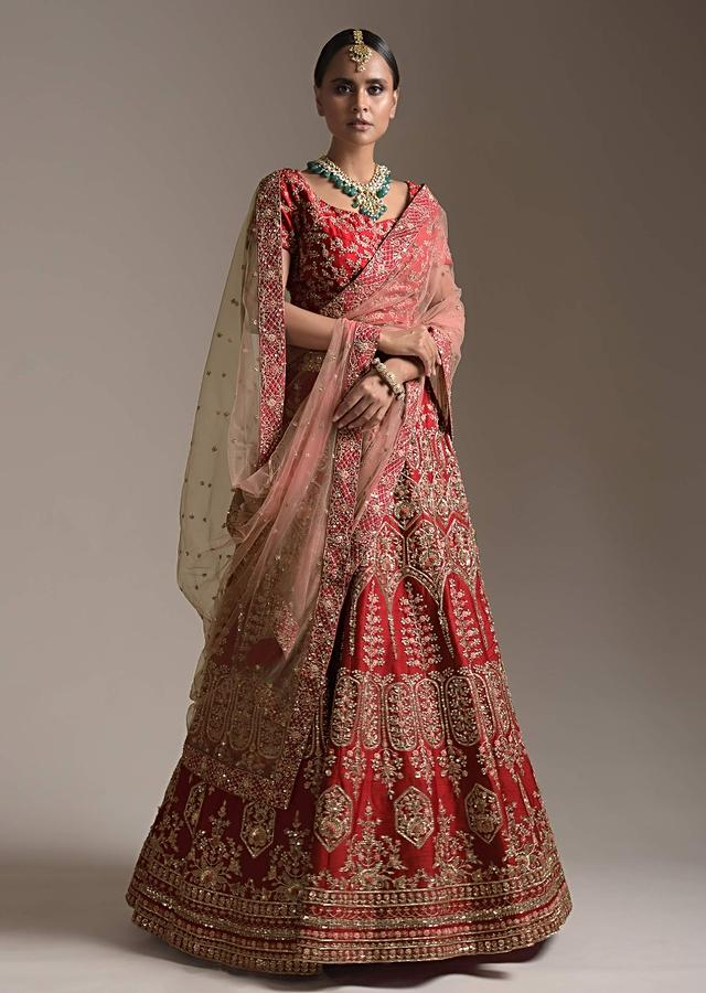 Blood Red Lehenga Choli In Raw Silk With Resham And Cut Dana Embroidered Floral And Geometric Design Online - Kalki Fashion