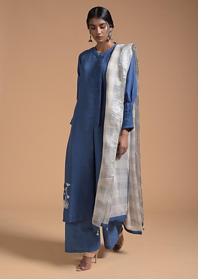 Blue A Line Suit In Linen With Pleat Details And Thread Embroidered Floral Motif Online - Kalki Fashion