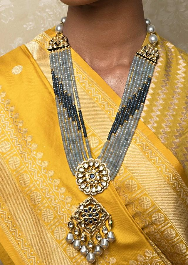 Blue Agate Necklace And Earrings Set With Enamel Work, Kundan And Shell Pearls Online - Joules By Radhika