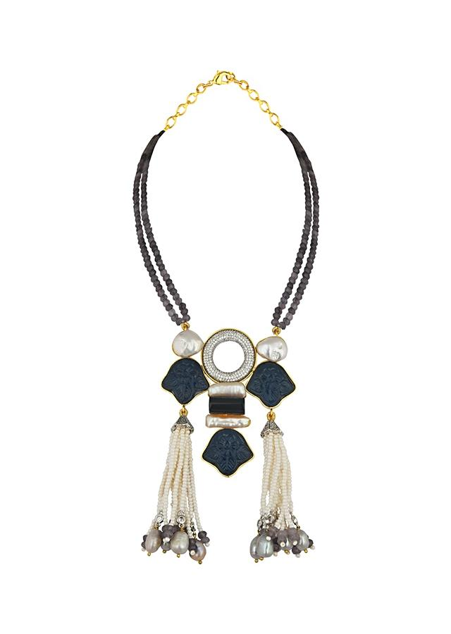 Blue Agate Necklace With Elaborate Pendant Made Of Swarovski, Baroque Pearls, Blue Hydro Carvings And Tassel Detailing Online - Joules By Radhika