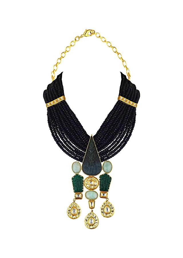 Blue Agate Necklace With Hydro Kundan Polki, Baroque Pearls And Carved Jades And Blue Onyx Online - Joules By Radhika