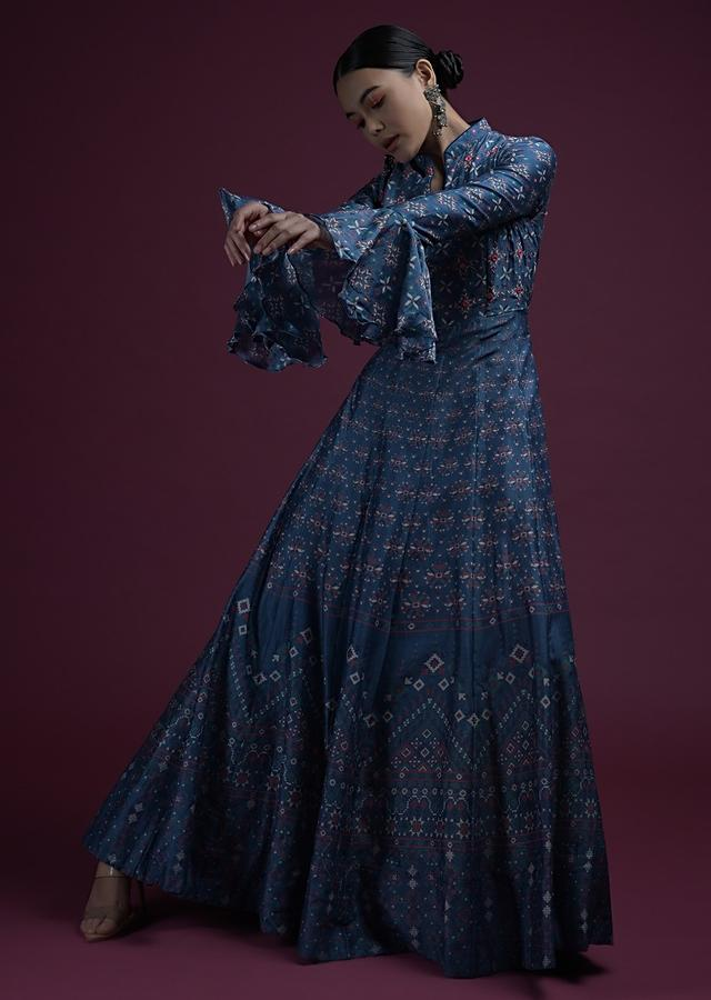 Blue Anarkali Dress In Silk With Ethnic Print, Abla Accents And Bell Sleeves Online - Kalki Fashion
