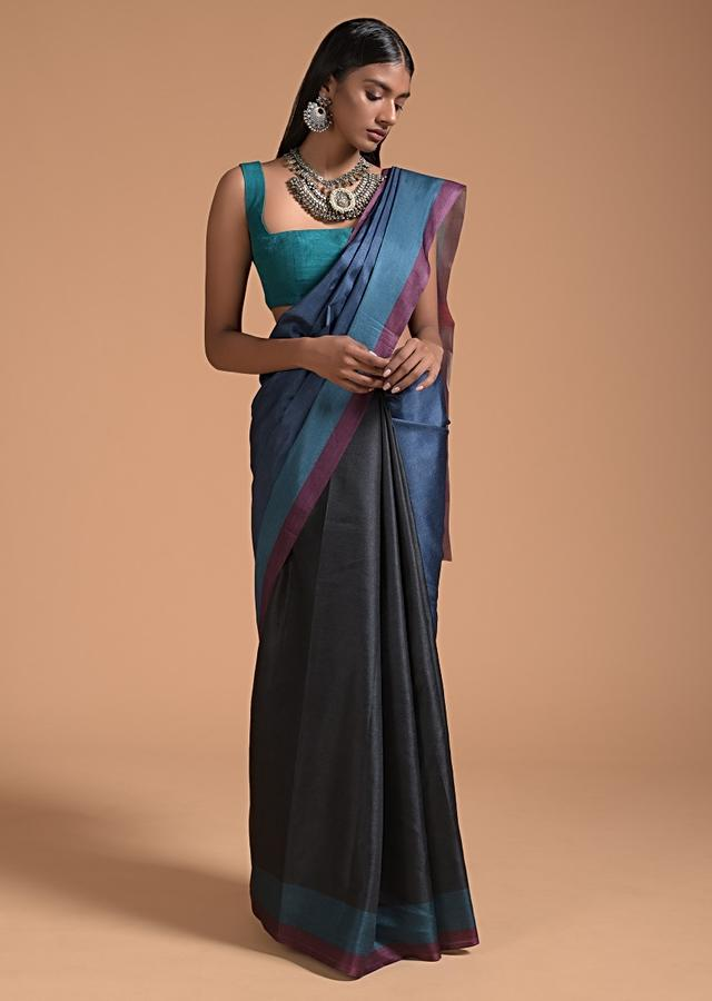 Blue And Black Saree In Silk With Color-Blocked Print Online - Kalki Fashion