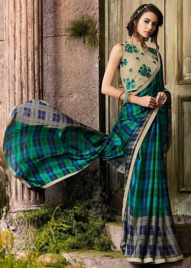 Blue And Green Saree In Georgette With Tussar Silk Blouse Piece Online - Kalki Fashion