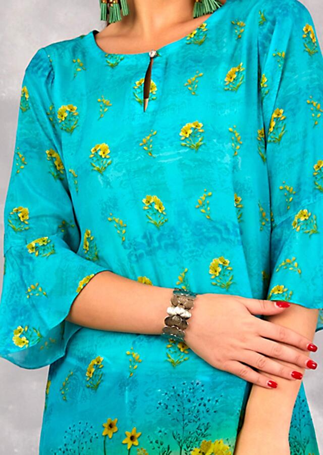 Blue And Green Shaded Tunic With Floral Print And Flared Sleeves