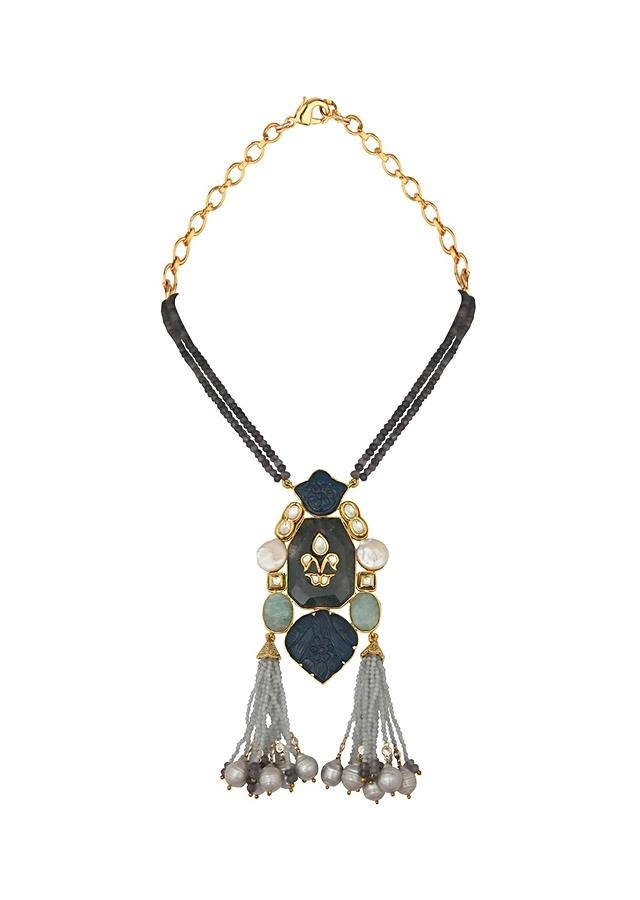 Blue And Grey Agate Necklace With Baroque Pearls, Jades And Hydro Blue Carvings Online - Joules By Radhika