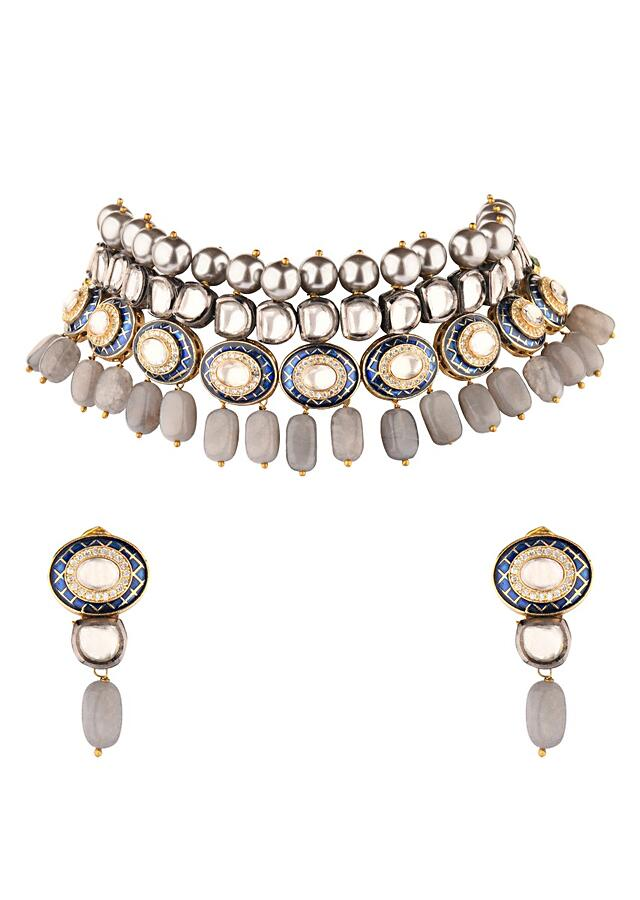 Blue And Grey Enamelled Choker Necklace And Earrings Set With Kundan And Shell Pearls Online - Joules By Radhika