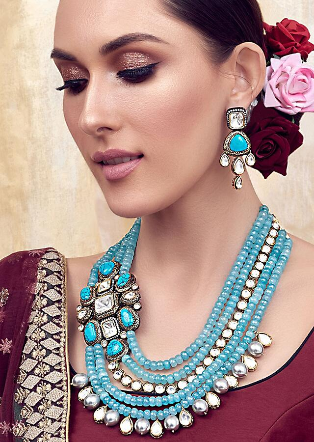 Blue and White Gold Tone Bridal Necklace Set Joules By Radhika