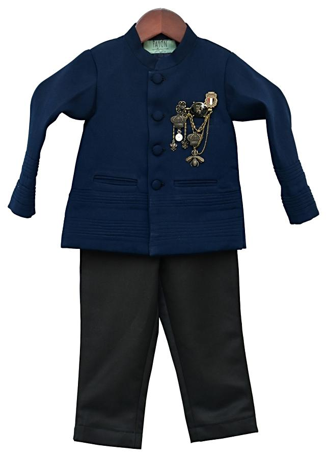 Blue Band Gala Suit With Pant And Fancy Broach by Fayon Kids