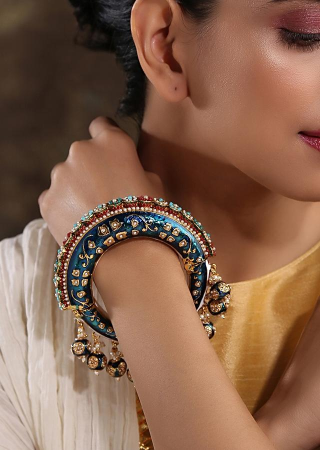 Blue Bangle Featuring Hand Painted Minakari And Traditional Punjabi Jadau Work With Shell Pearls By Paisley Pop