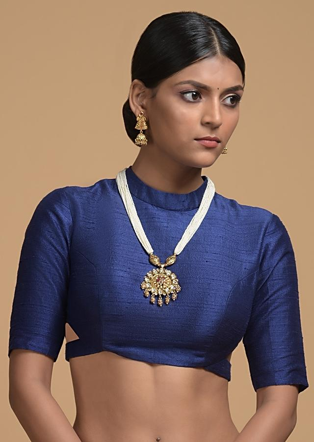 Blue Blouse In Raw Silk With Back Zip And Side Cut Outs Online - Kalki Fashion