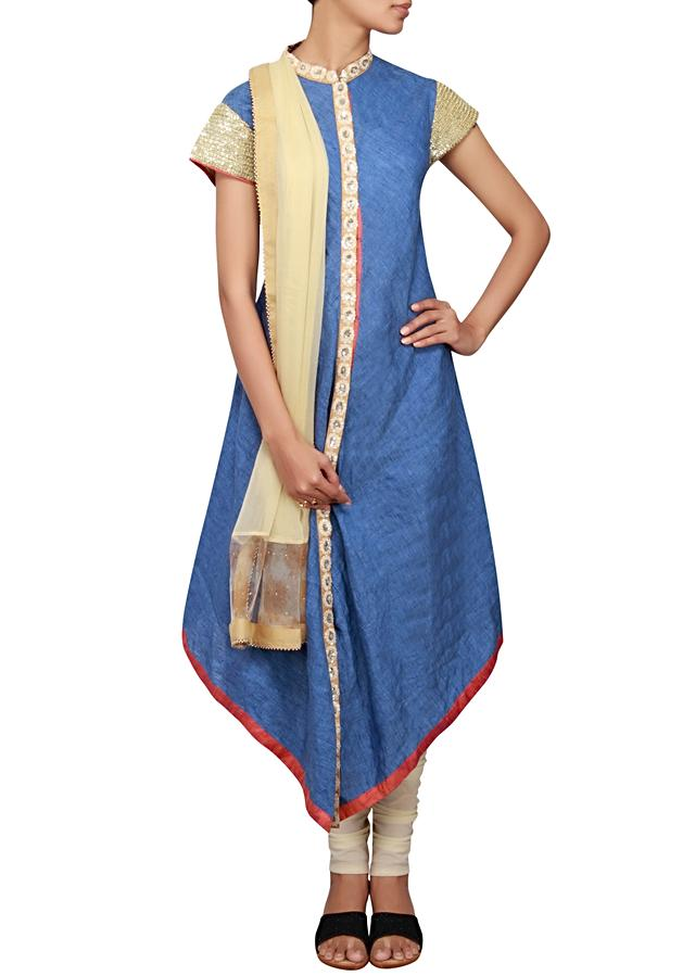 Blue cotton silk a-line suit embellished in sequin and thread only on Kalki