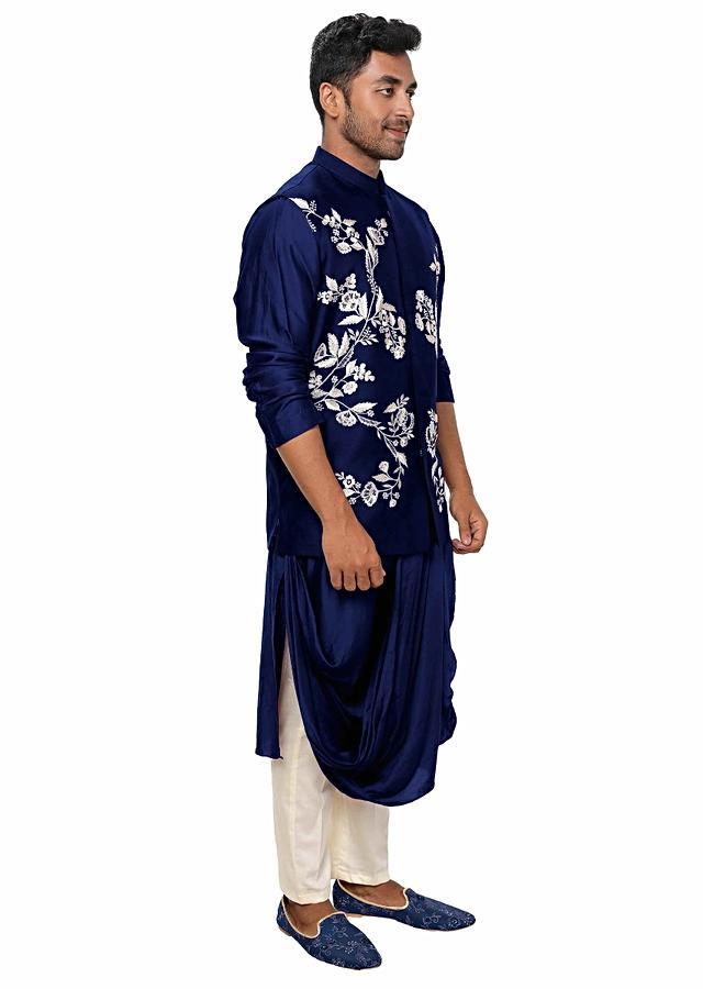 Blue Kurta With Cowl Drape And Floral Embroidered Jacket Set Online - Kalki Fashion