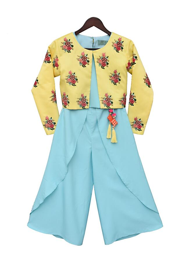 Blue Crop Top And Tulip Style Pant With Yellow Embroidery Jacket by Fayon Kids