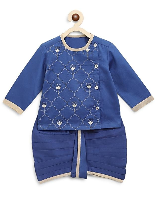 Blue Dhoti Set With Resham Embroidery In Persian Art Inspired Motifs By Tiber Taber