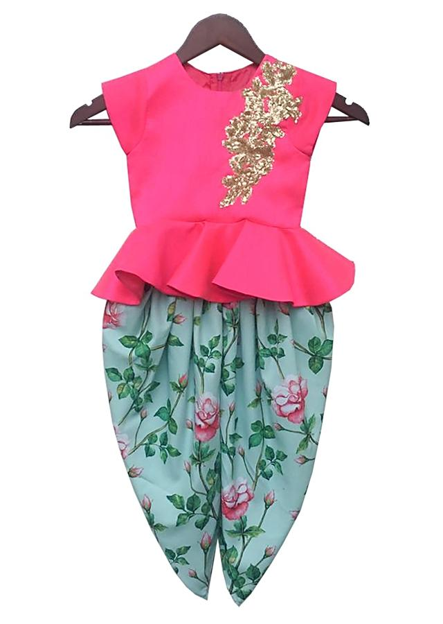Blue dhoti suit with floral print and pink peplum top By Fayon Kids