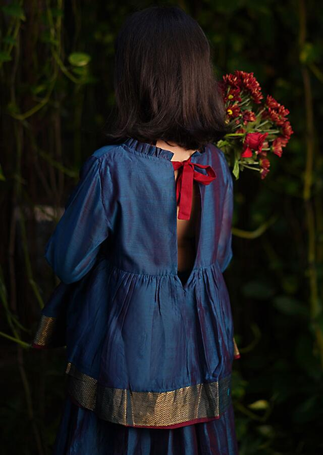 Blue Dress In Cotton Silk With A Loose Comfort Fit And Tie Up At The Back By Love The World Today