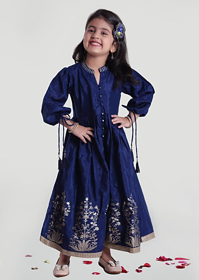 Blue Dress In Silk With  Foil Print And Embroidery Work By Mini Chic