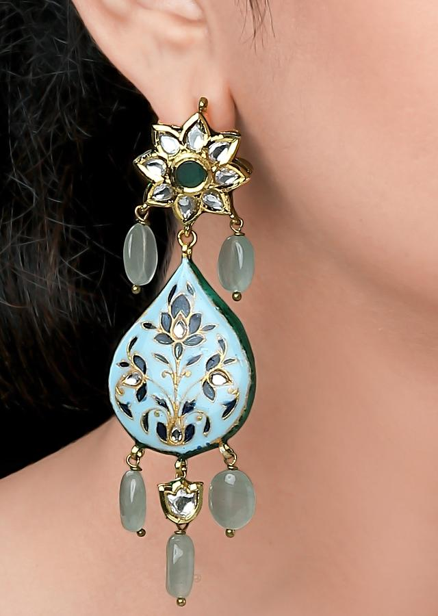 Blue Earrings With Green Jade, Meenakari And Polki In Drop Pattern Online - Joules By Radhika