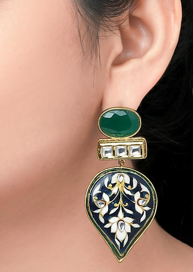 Blue Earrings With Green Onyx, Floral Meenakari And Polki In Drop Pattern Online - Joules By Radhika