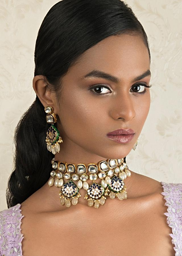 Blue Enamelled Choker Necklace And Earrings Set With Kundan Online - Joules By Radhika